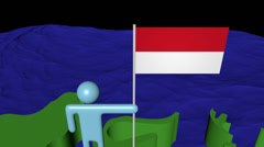 Man with flag on Indonesia map in ocean animation Stock Footage