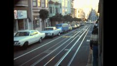 San Francisco 1976: street view from the cable car Stock Footage