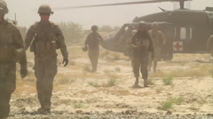 US-Soldiers - Patrol03 - Helicopter Deployment 01 Stock Footage