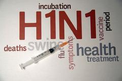 swine flu h1n1 disease with syringe  and virus vaccine - stock photo