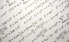 math background with formulas, einstein formula of relativity - stock photo