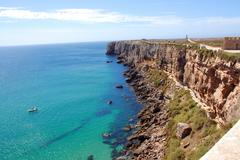 the monumental cliffs at coast near sagres point in portugal - stock photo