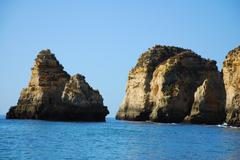 yellow cliffs in lagos in the algarve portugal - stock photo