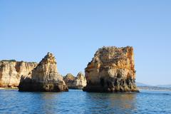 Yellow cliffs in lagos in the algarve portugal Stock Photos