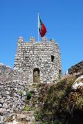 flag sintra castle - stock photo