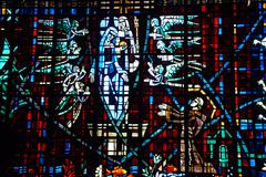 stained glass window in catholic church in rabat, morocco - stock photo