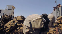 US-Soldiers In Jordanian Harbour 02 Stock Footage