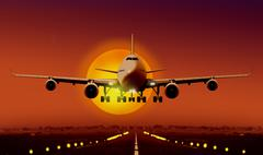 Airplan take off during sunset Stock Illustration