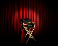 Director chair under spotlight on stage Stock Illustration