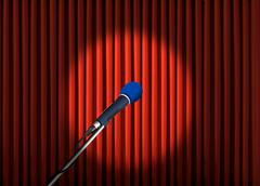 microphone and red curtains - stock illustration
