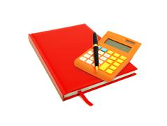 Red diary and calculator over white Stock Illustration