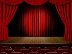 stage with red curtains and row of seats - stock illustration