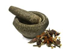 Stone mortar and spices Stock Illustration