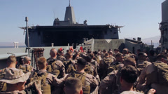 US-Soldiers In Landing Craft 02 Stock Footage