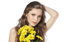 fresh girl with yellow flower - stock photo