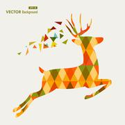 Colorful fall season reindeer triangle composition eps10 file background. Stock Illustration