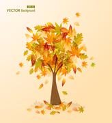 Stock Illustration of fall season tree shape with leaves falling eps10 file background.