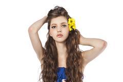 Young fresh girl over whute Stock Photos
