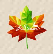 Autumn fall season text triangle leaf shape eps10 file background.. Stock Illustration