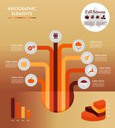 Stock Illustration of fall season infographic tree elements autumn graphic eps10 file.