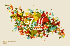 Colorful fall season text with triangles concept background eps10 file. Stock Illustration