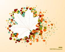 Fall season bubble composition leaf shape eps10 file background. Stock Illustration