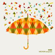 Fall season triangle composition umbrella eps10 file background. Stock Illustration