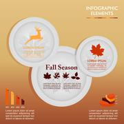 Fall season infographic plates autumn graphics template. eps10 file. Stock Illustration