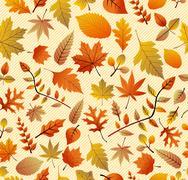 Stock Illustration of retro autumn season leaves seamless pattern background. eps10 file.