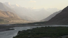 Light fades over beautiful Wakhan Valley, Tajikistan and Afghanistan Stock Footage