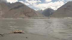 Wakhan Valley, Afghanistan, Tajikistan, beautiful panorama landscape, river Stock Footage