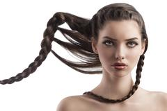 beauty shot  hairstyle portrait of beautiful brunette girl with creative brai - stock photo