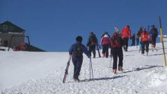 People Learning to Ski in Mountains, Tourists Skiing in Alps, Winter Sports - stock footage