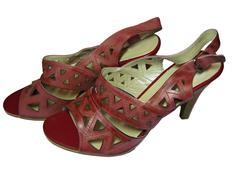 red women footwear of a high hill isolated - stock photo