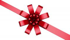 Single Red Ribbon Tying a Bow across the Screen - stock footage