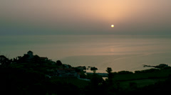 Sunrise over sea at Mount Athos in Chalkidiki, Greece Stock Footage