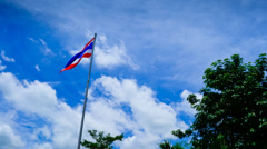 Thai National Flag on Flagstaff and Cloudy Blue Sky Moving Time-lapse - stock footage