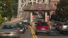 Bear Mountain Bridge Toll Plaza Traffic Timelapse 2 Stock Footage