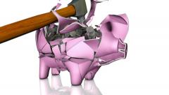 Piggy Bank Shattered by hammer in slow motion filled with coins Stock Footage