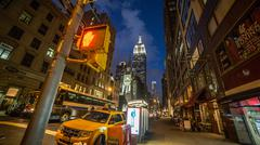 Empire State Building Manhattan Night New York City NYC HDR Traffic Light Stock Photos