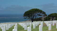 Stock Video Footage of Fort Rosecrans Veteran Cemetery Pacific Ocean HD 9163