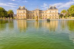 the french senate and the jardin du luxembourg, paris, france - stock photo