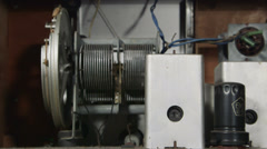 DOLLY: Vintage classic old radio receiver inside Stock Footage
