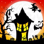 witch house in a full moon night - stock illustration