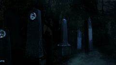 3D Halloween animation of fog and old tombstones in a dark creepy cemetery 5 Stock Footage