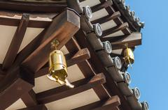 close-up view of japanese pagoda roof - stock photo