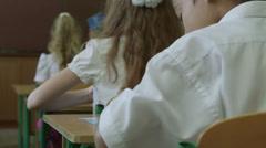 Schoolchildren listen teacher in classrom Stock Footage