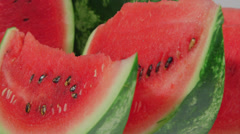 Slices of red watermelon Stock Footage