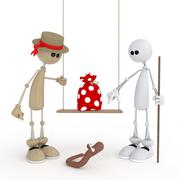 The 3d little man on a swing. Stock Illustration
