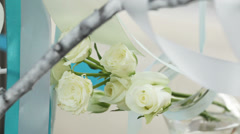 White roses in a vase Stock Footage